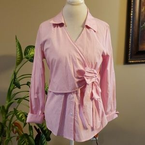 Cupio pink stripes blouse in a size m